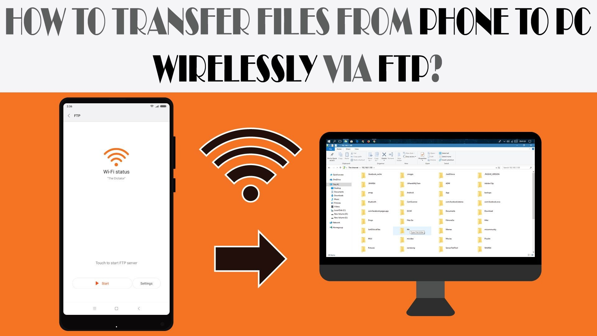 Wirelessly transfer files from phone via FTP