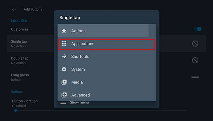Choose Applications after selecting Single Tap
