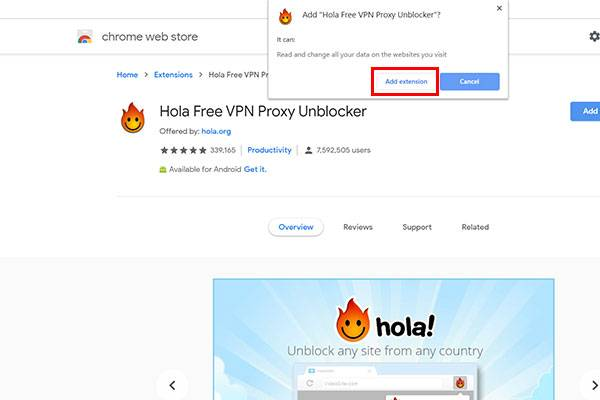 Opening Google Extension store to download hola VPN