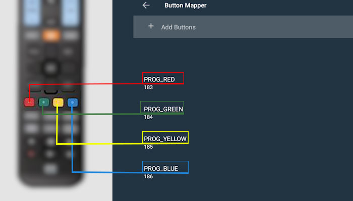 Add 4 buttons inside Button Mapper Pro on Android TV