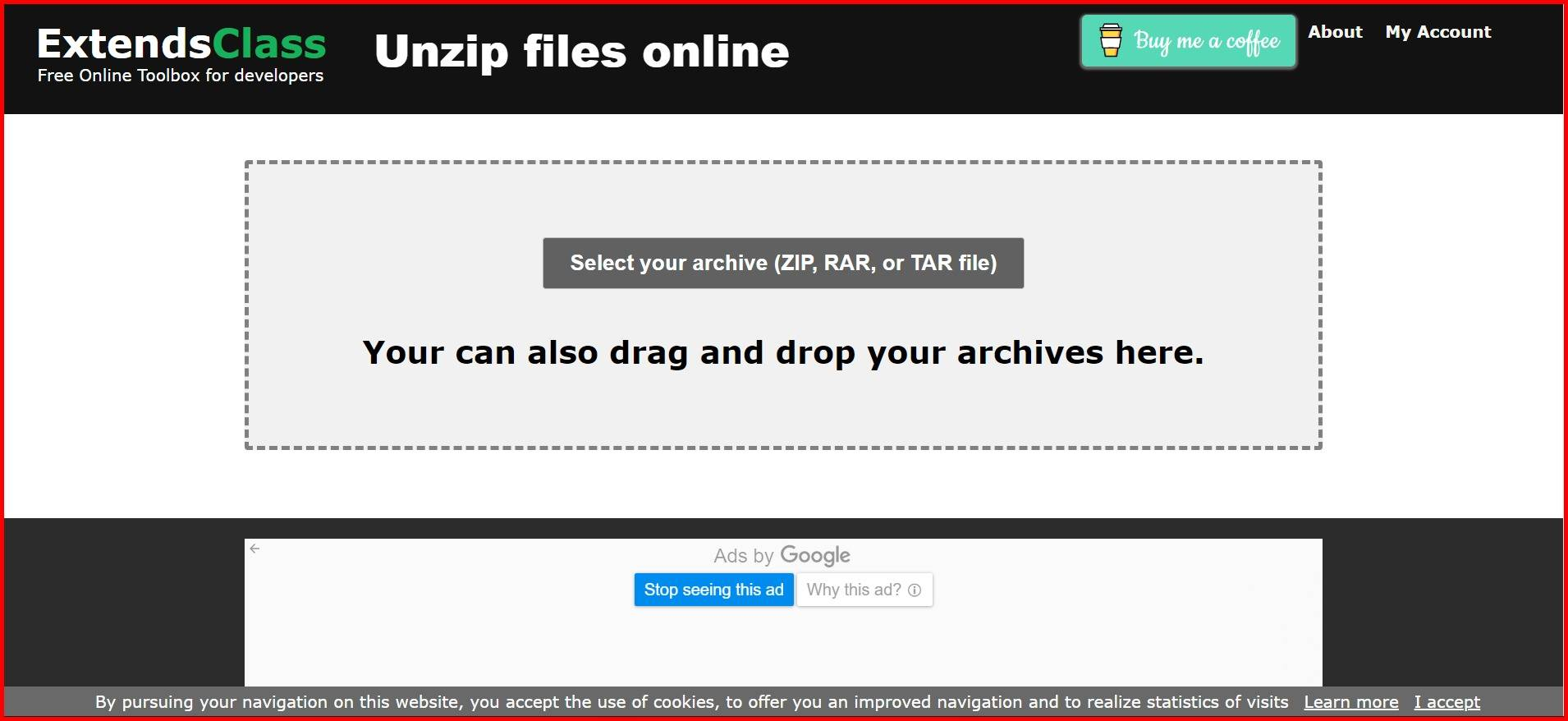 Open rar files online with extendsclass unzip tool mrnoob