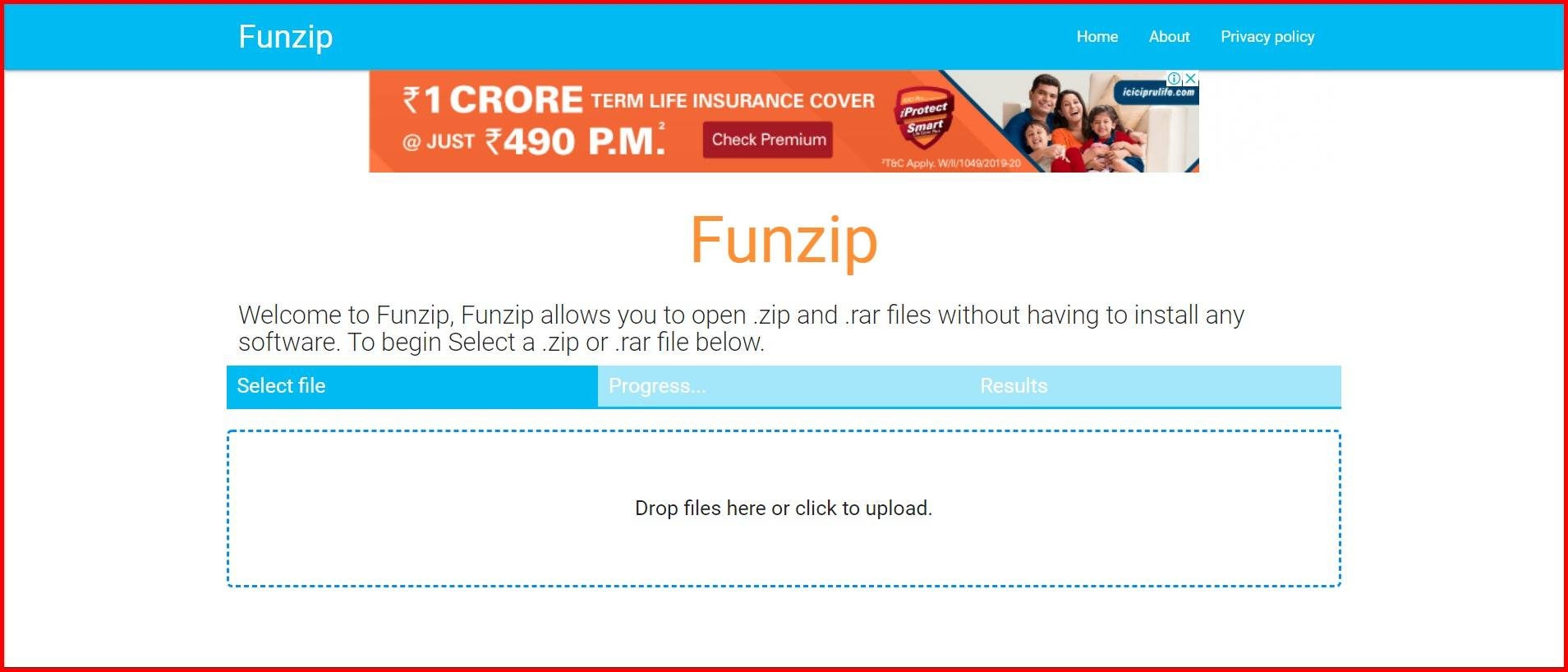 open rar files online via funzip