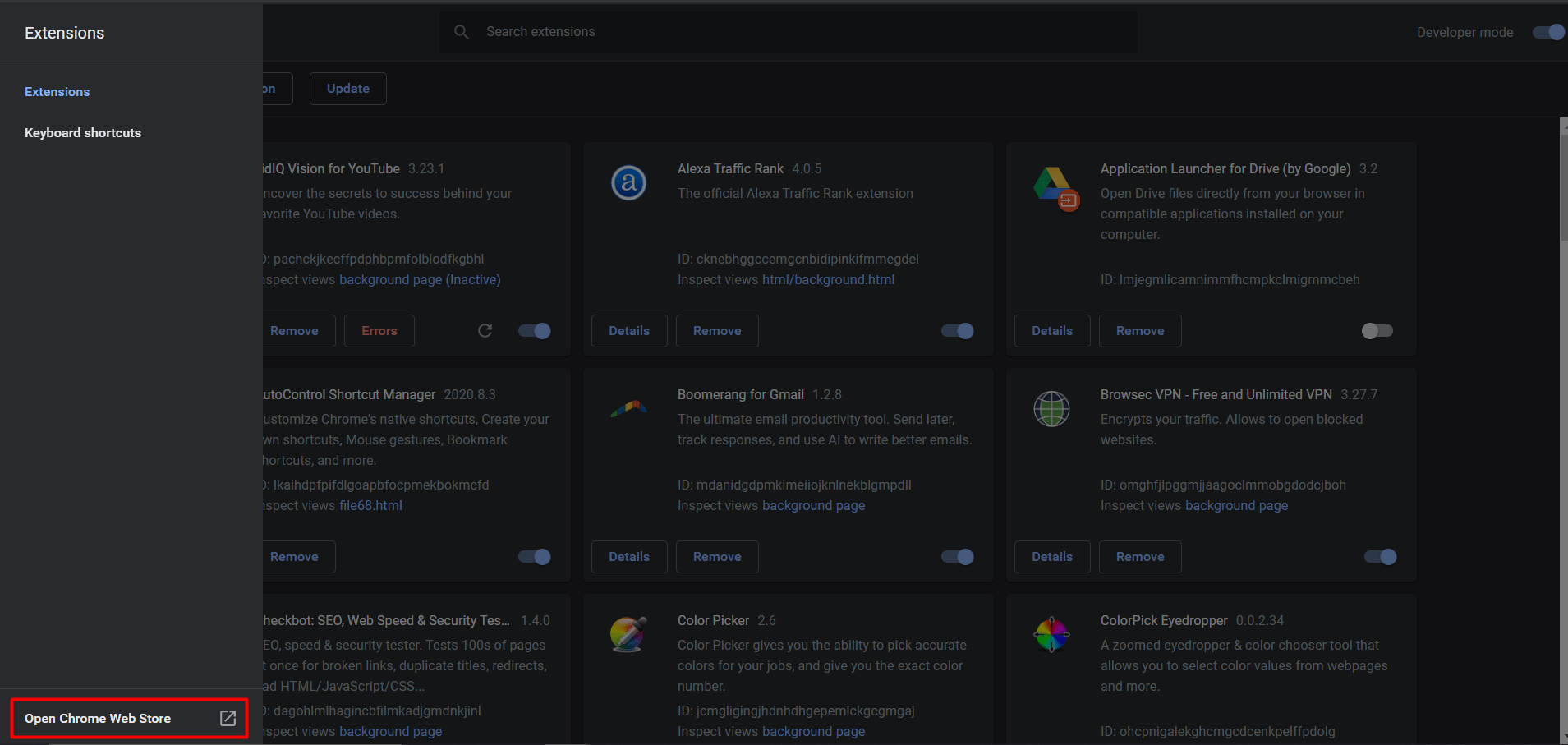 chrome extension page
