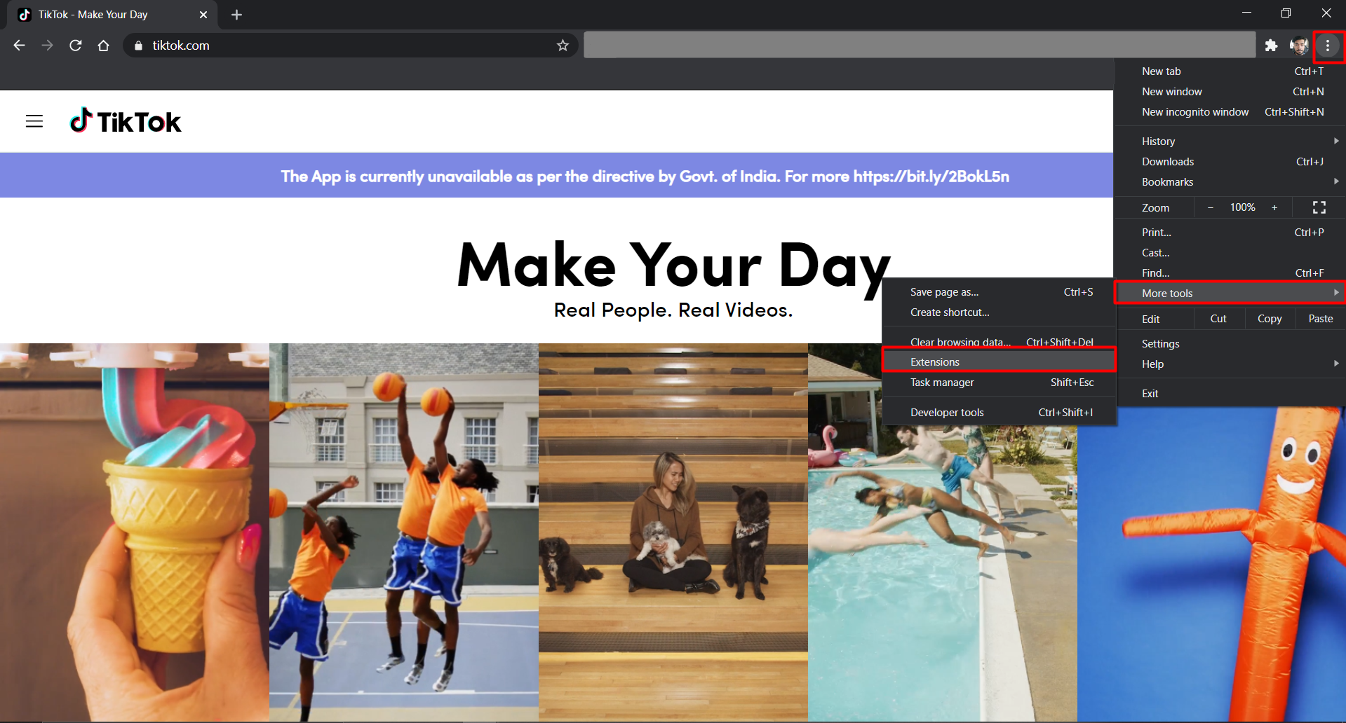 open extension page
