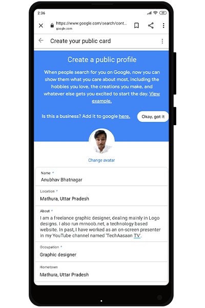 create people card mrnoob