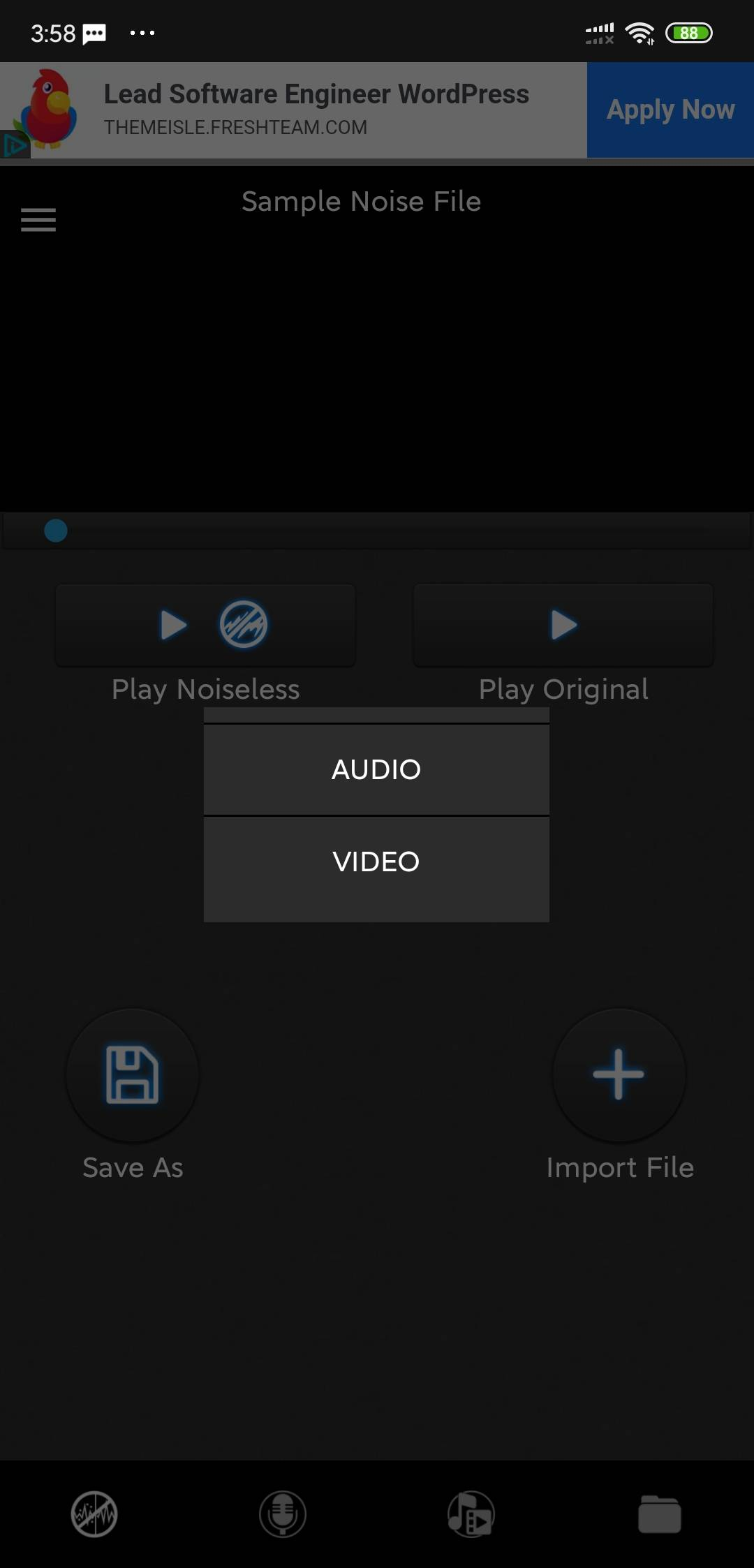 Import audio or video in mp3 mp4 video reducer