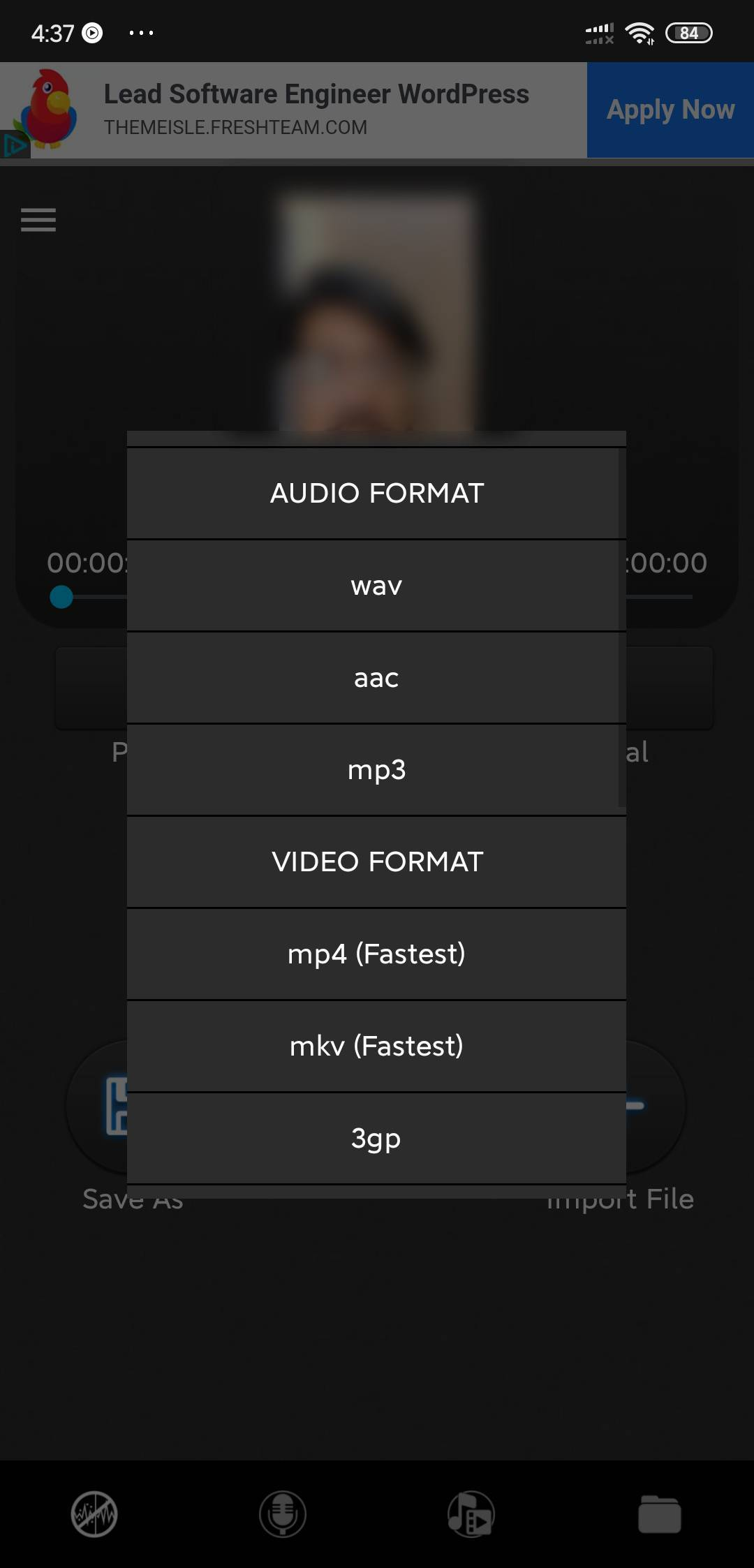export options in mp3 mp4 noise reducer