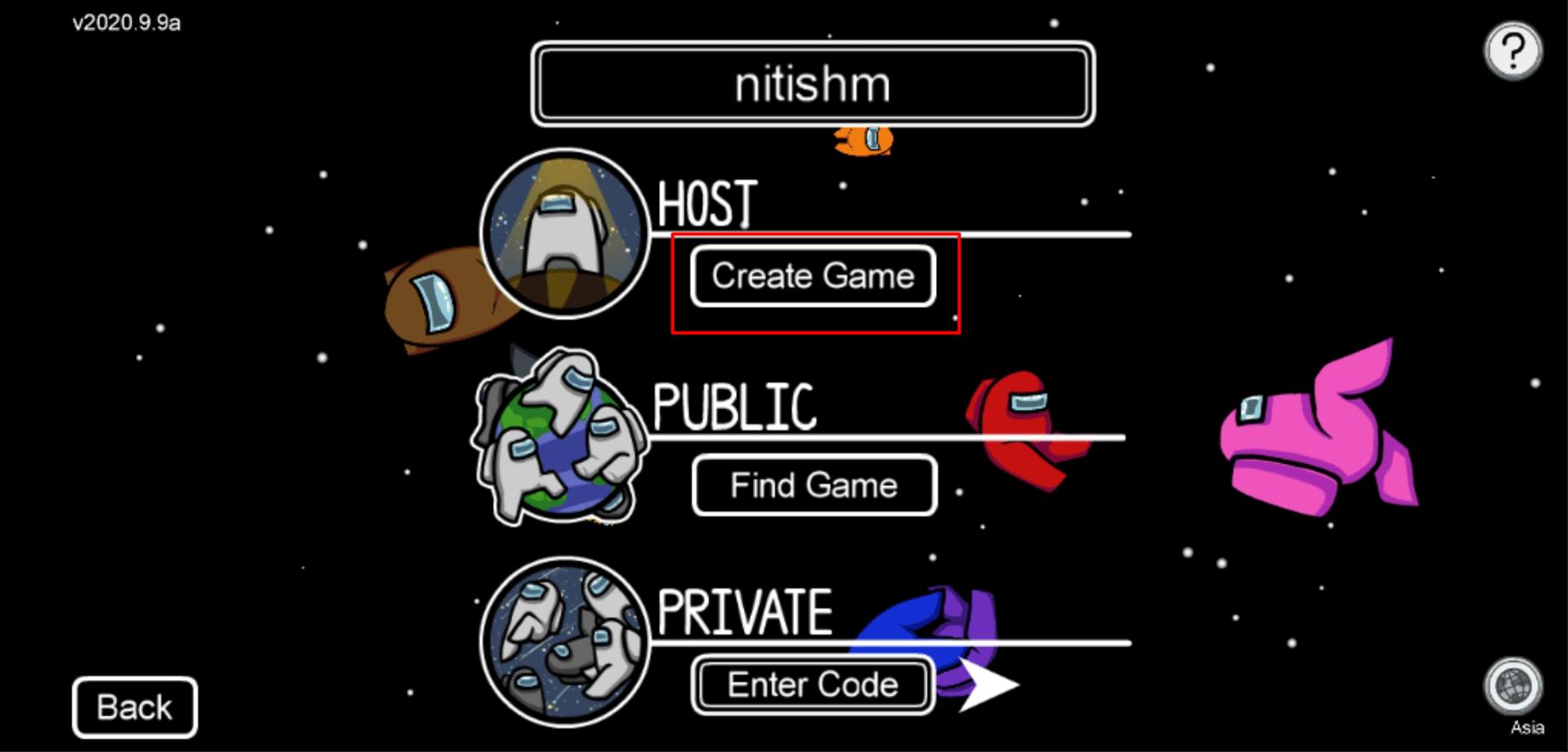 create game among us mrnoob