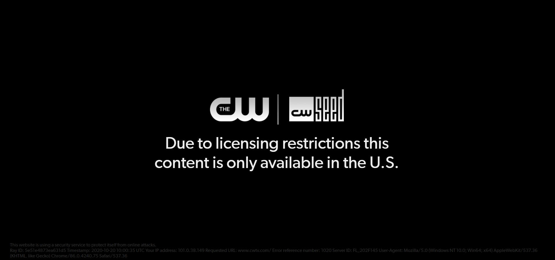 Error when you open the CW website watch cw tv outside USA