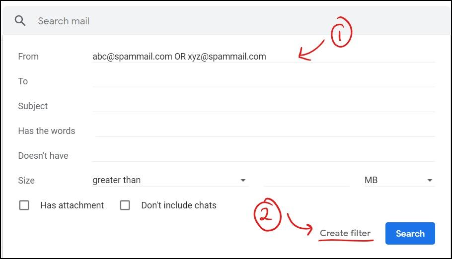 gmail filter create filter mrnoob