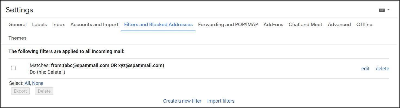 gmail filter filter mrnoob