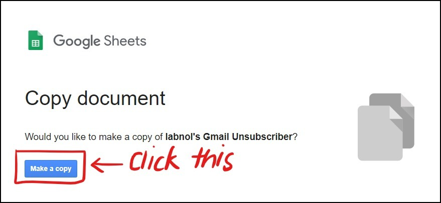 gmail unsubscriber script sheet copy mrnoob