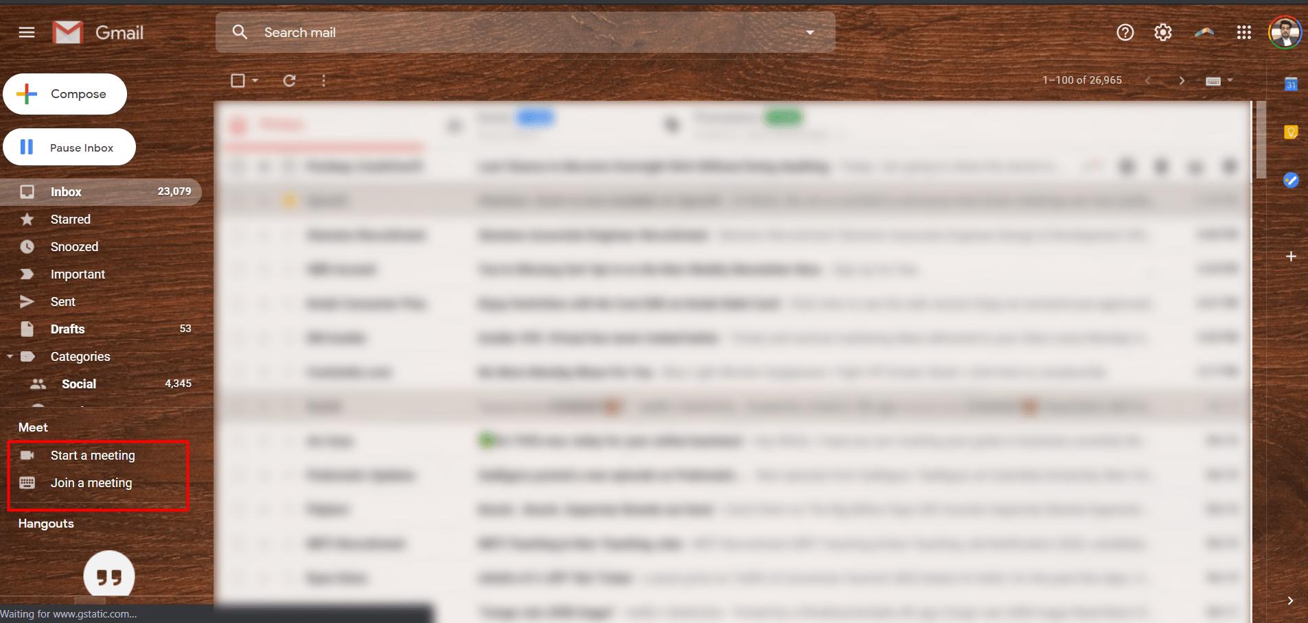 start google meet inside gmail