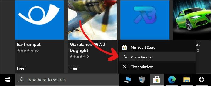 windows taskbar customization pin app mrnoob