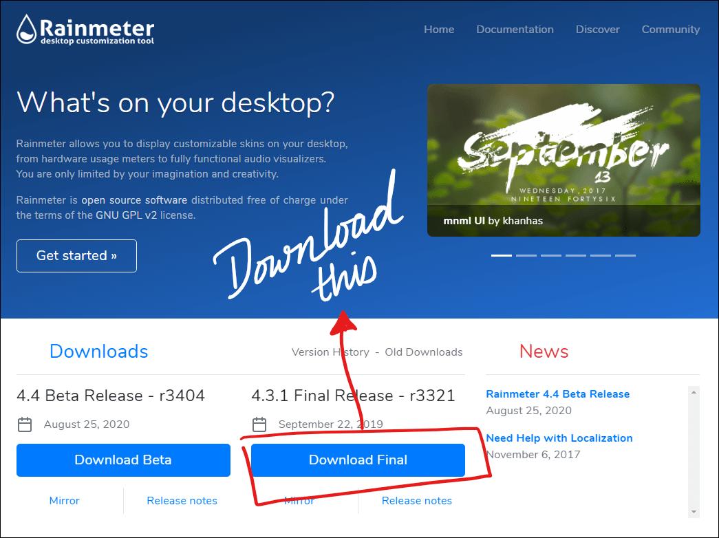 windows taskbar customization rainmeter download mrnoob