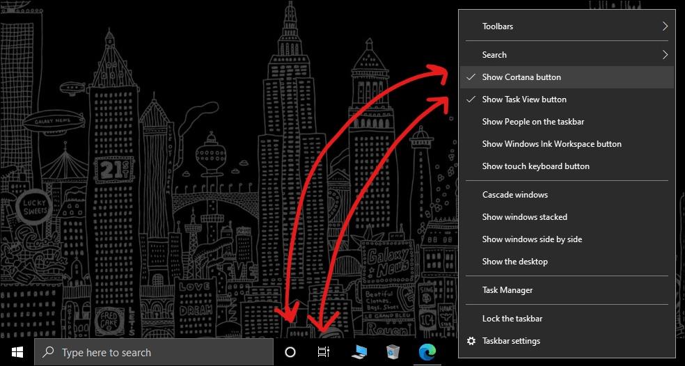 windows taskbar customization remove cortana button mrnoob