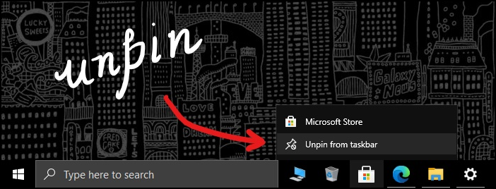 windows taskbar customization unpin apps mrnoob