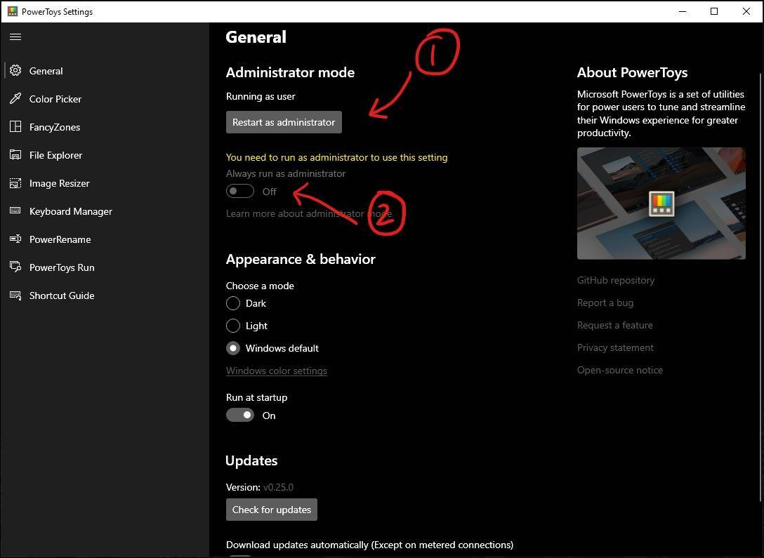 administrator powertoys settings mrnoob