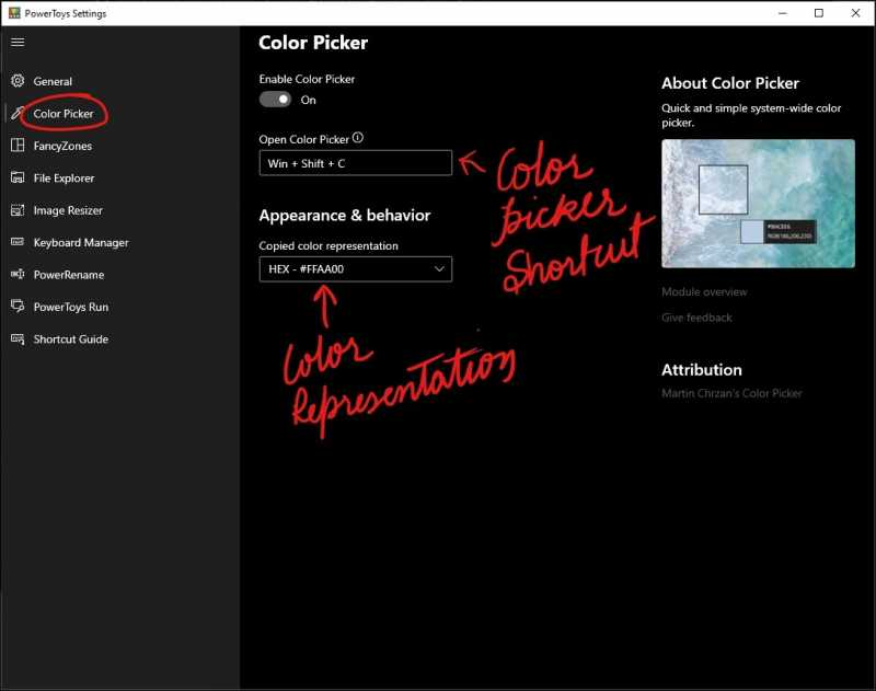 color picker settings mrnoob