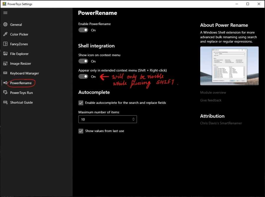 powerrenamer settings mrnoob