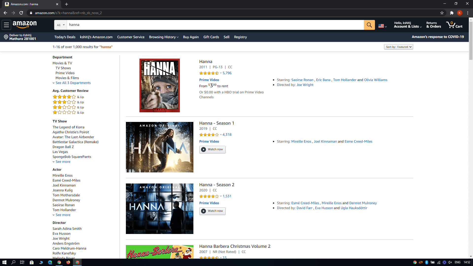 searching hanna on amazon prime video