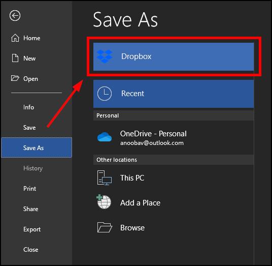 dropbox ms office save as mrnoob