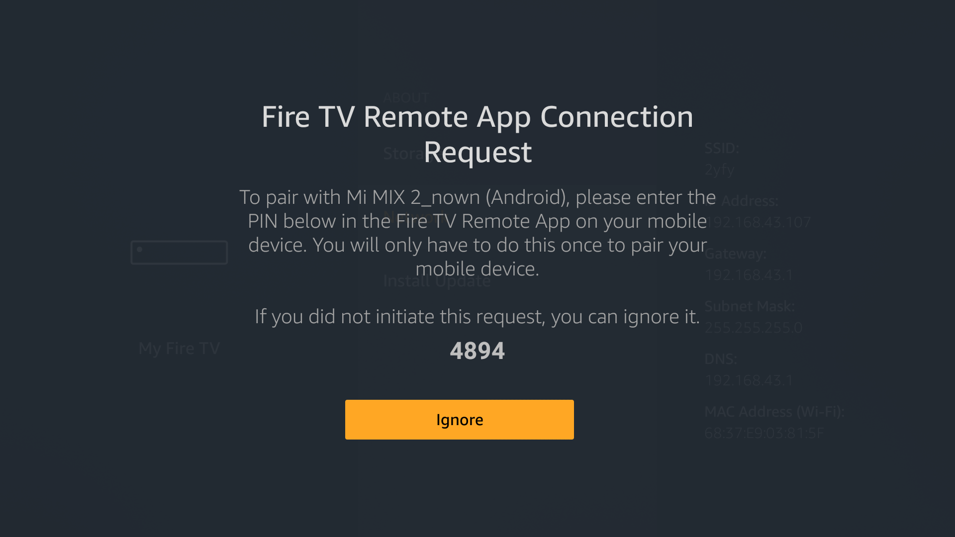 fire tv showing pop up to connect firestick remote lost