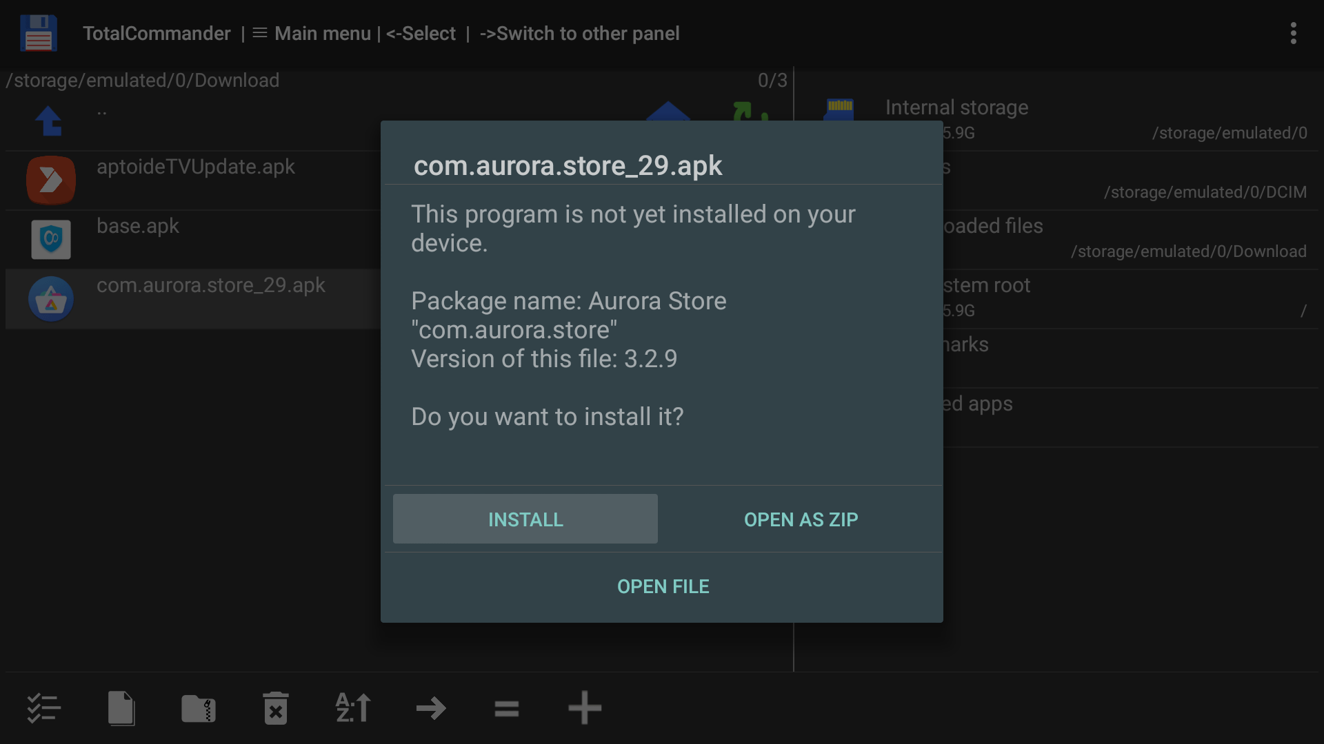 install aurora store via total commander