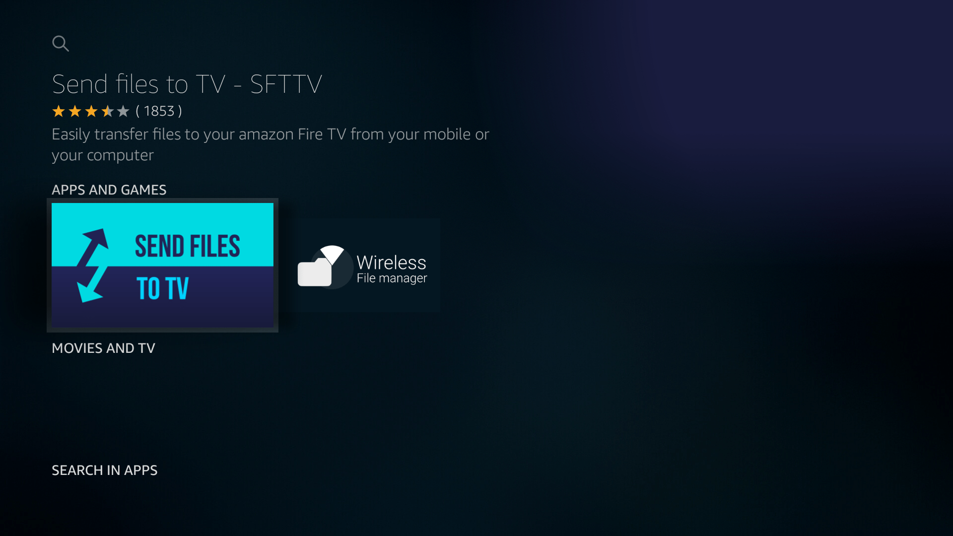 send files to tv sfttv on fire tv stick