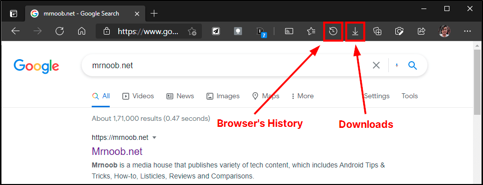 browsing history downloads edge toolbar mrnoob