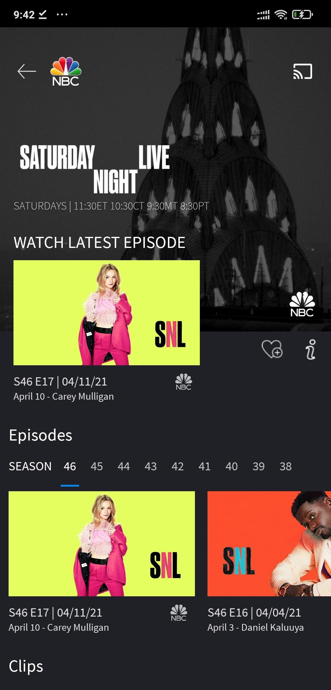 open the SNL section inside the app