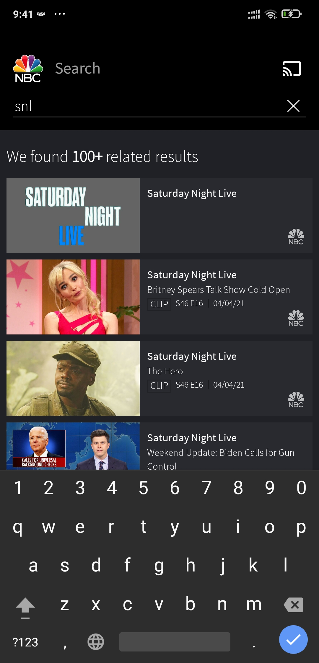 search for SNL inside the NBC app