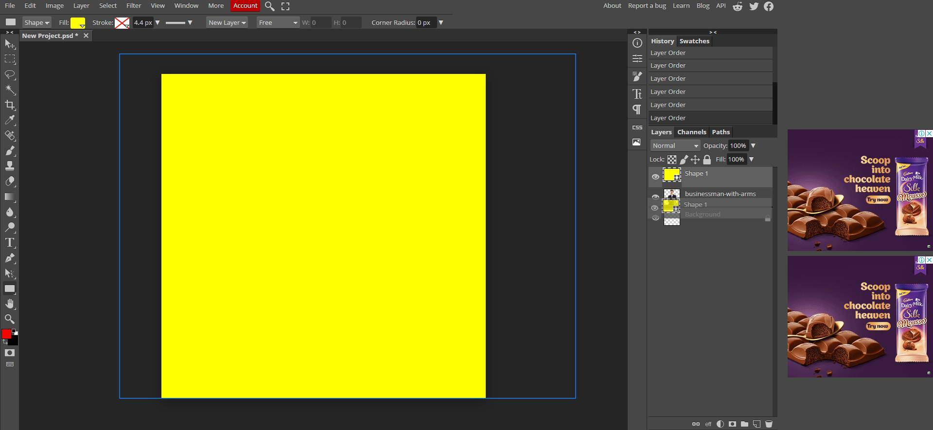 create a rectangle on top of the picture