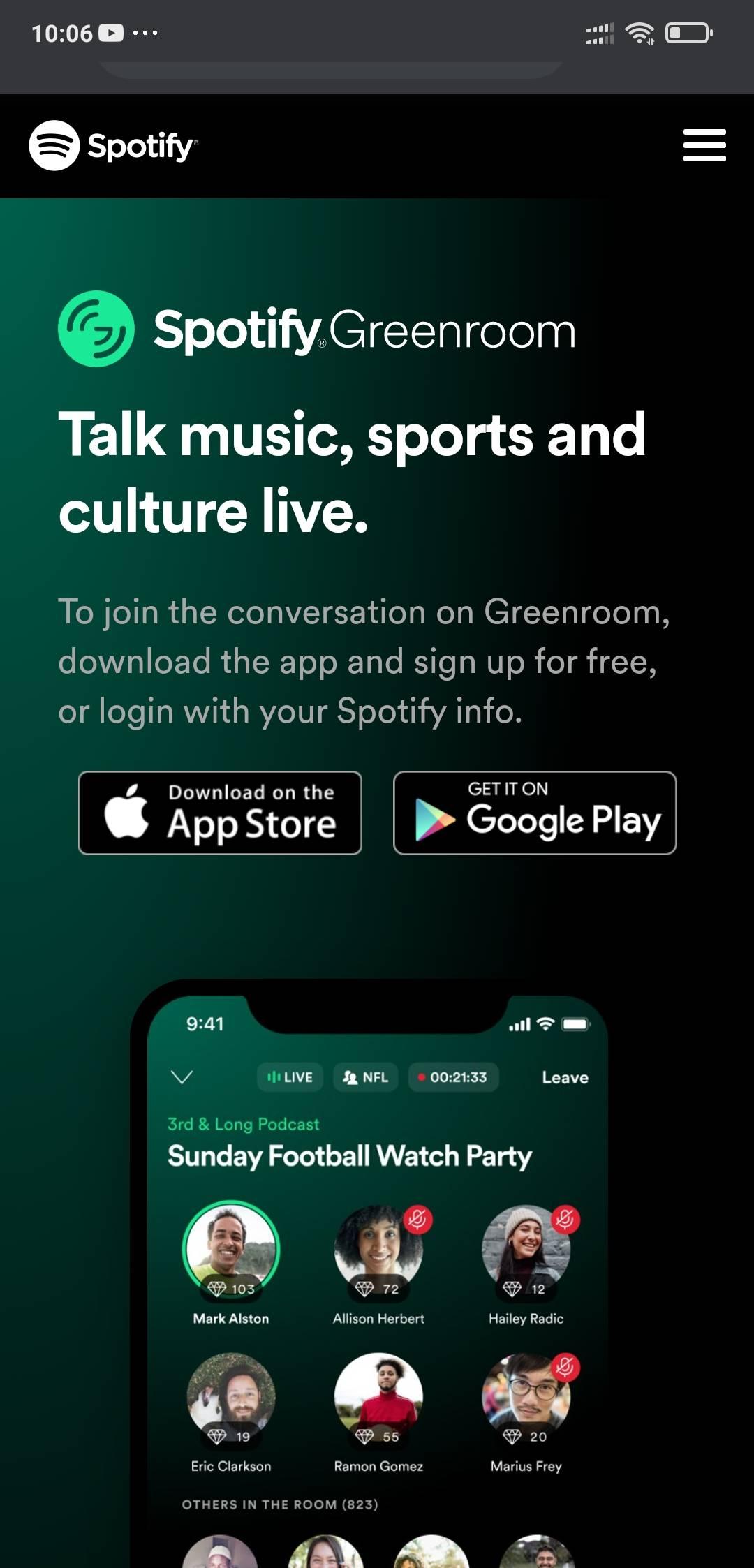 spotiy green room website