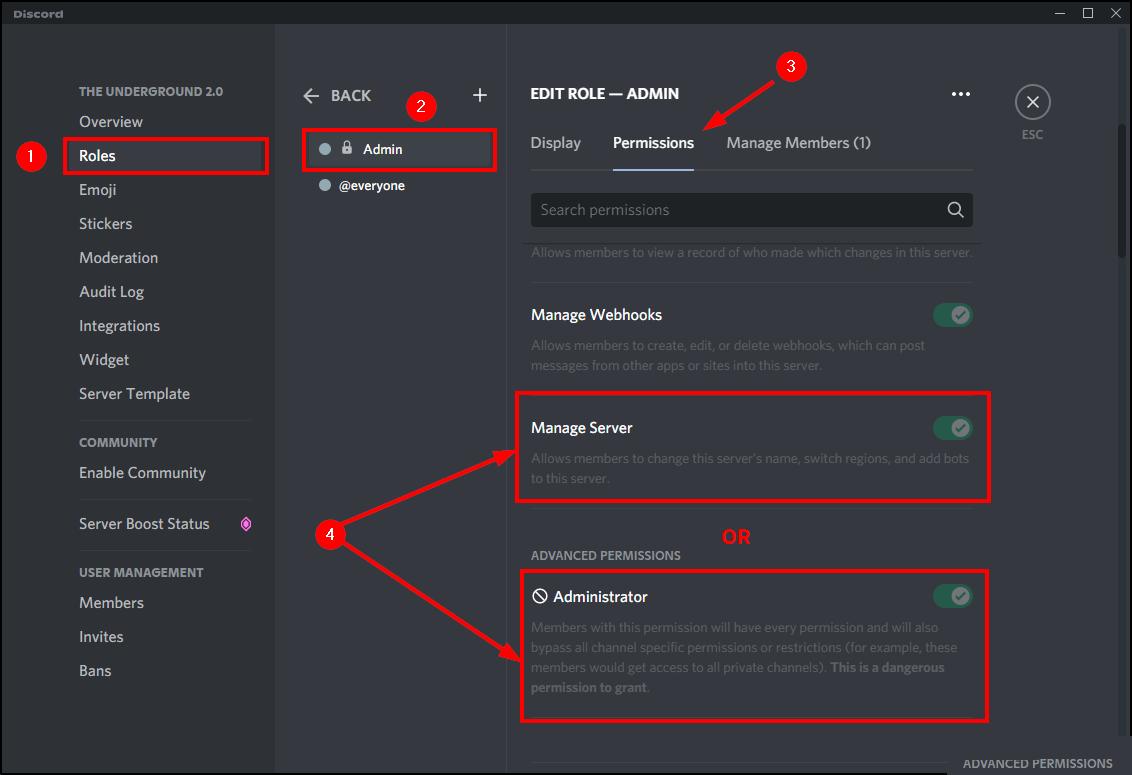 administrator manage server permissions discord mrnoob