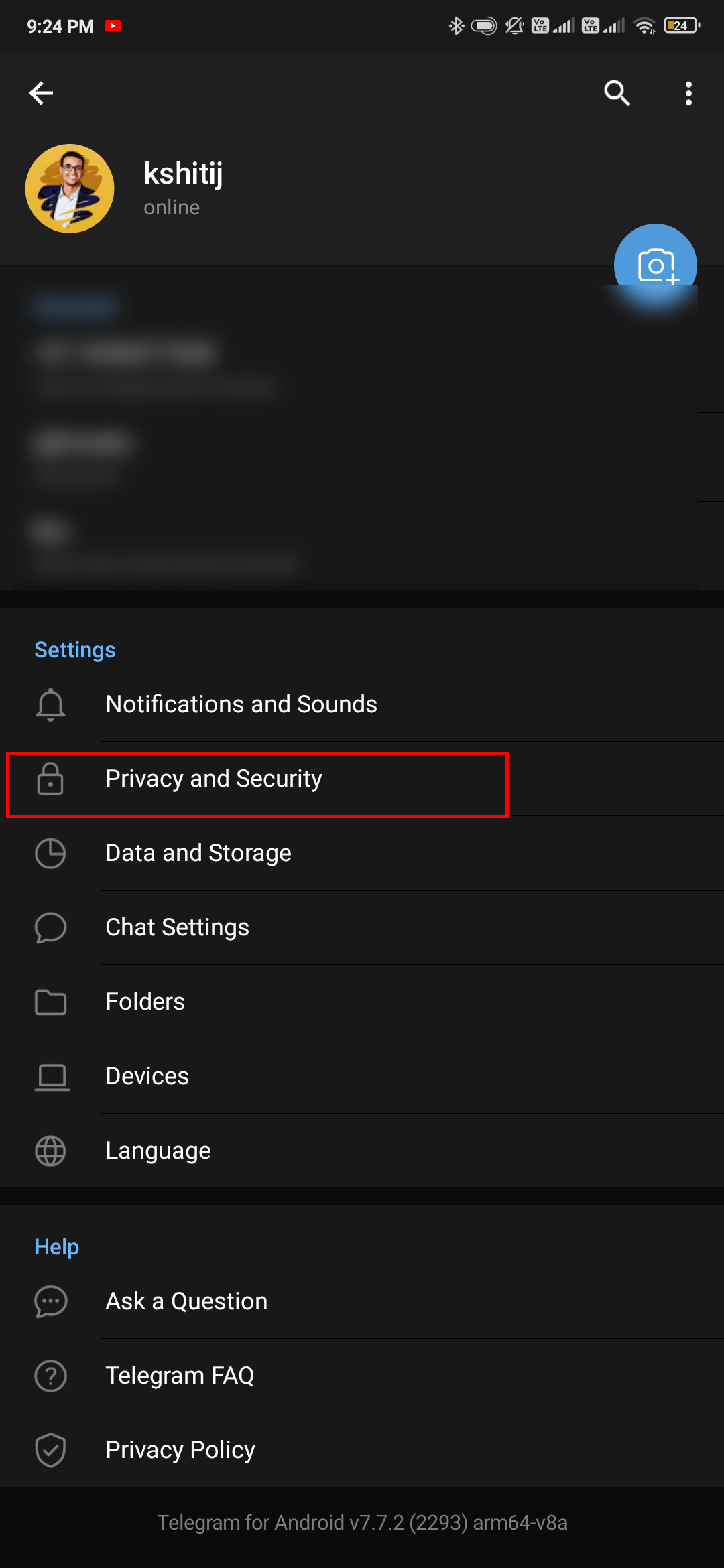 tap on privacy and security