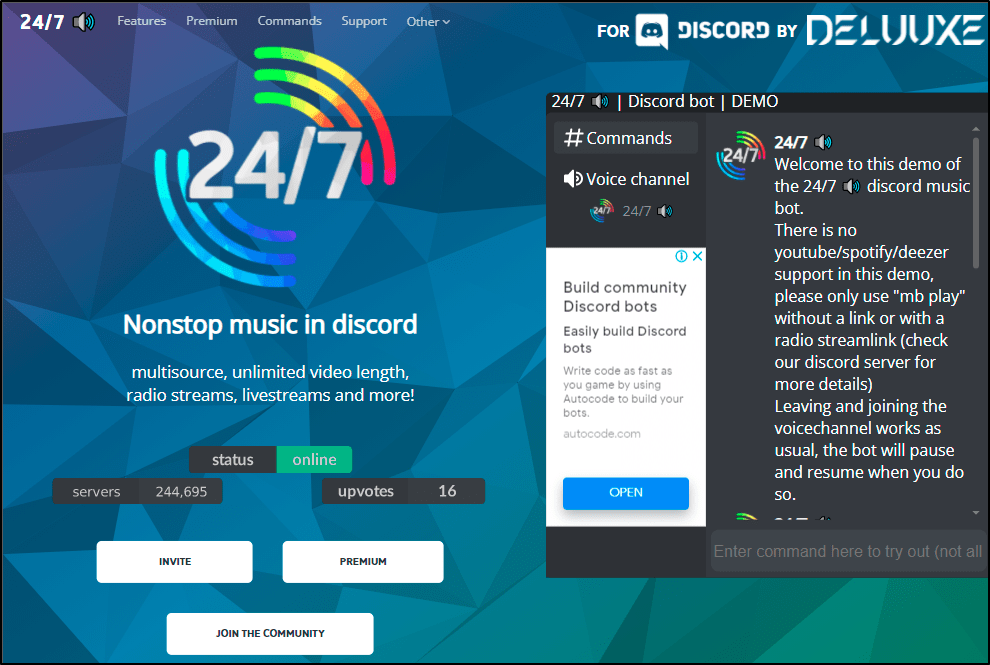24 7 music bot mrnoob