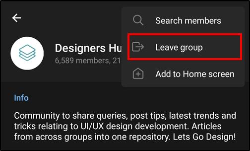android telegram leave group mrnoob