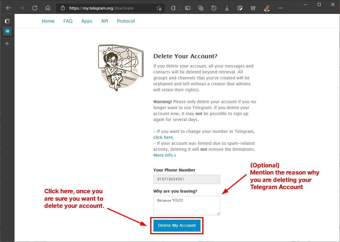 delete your telegram account page mrnoob