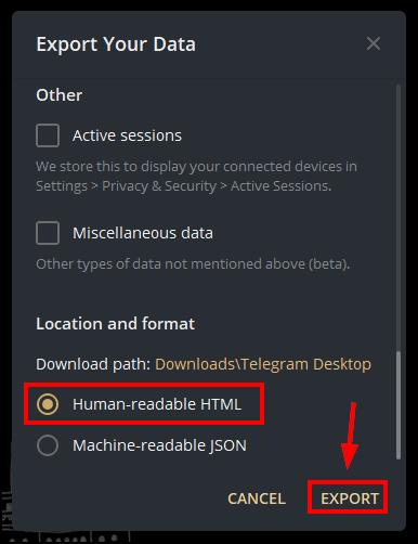 export data telegram mrnoob