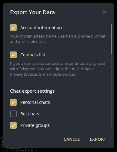 export your data popup telegram mrnoob