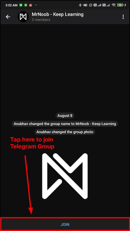join telegram group mrnoob