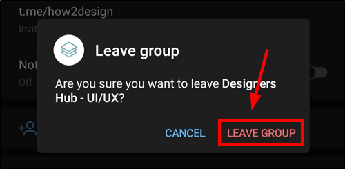 leave group popup telegam android mrnoob