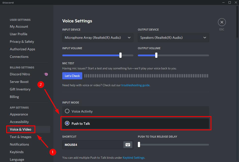 push to talk discord user settings mrnoob
