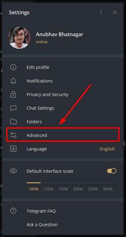 telegram desktop advanced settings mrnoob