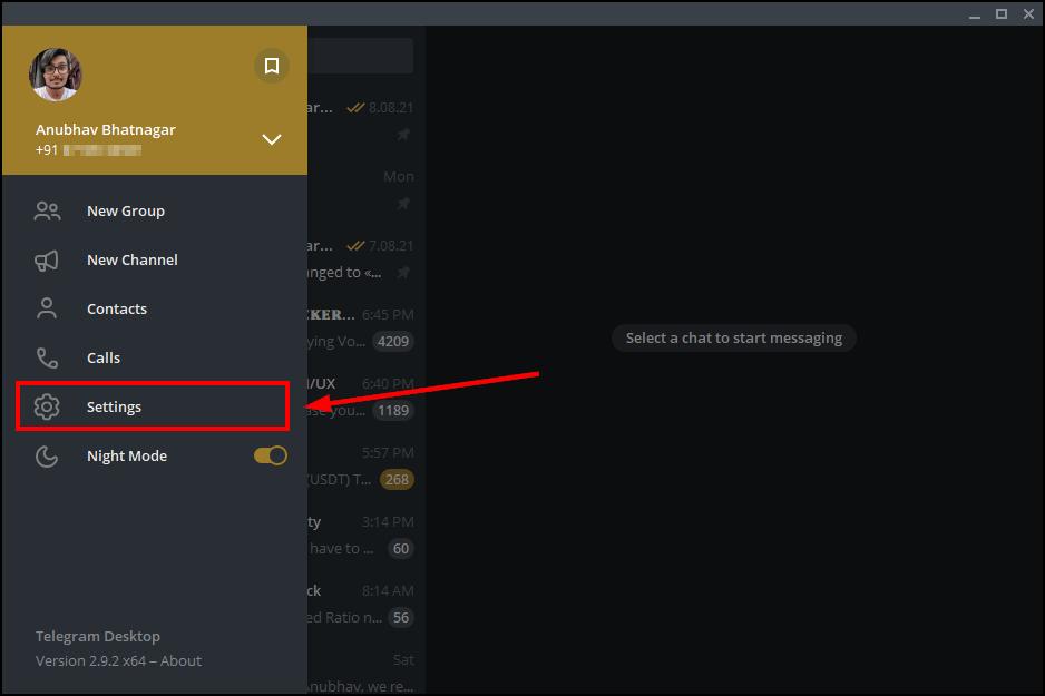 telegram desktop settings mrnoob