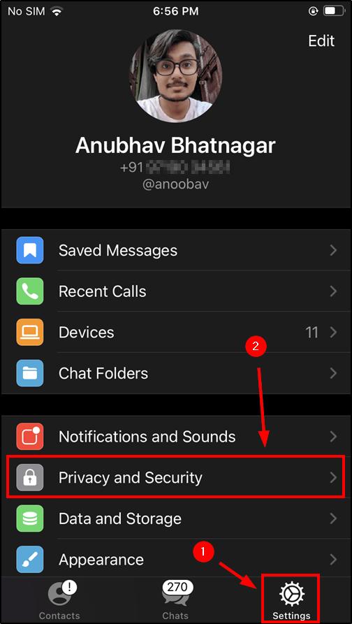telegram settings ios mrnoob
