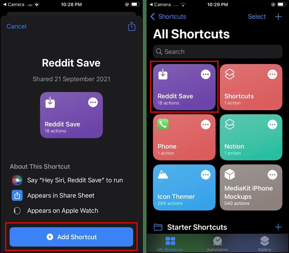 add redditsave shortcut ios mrnoob